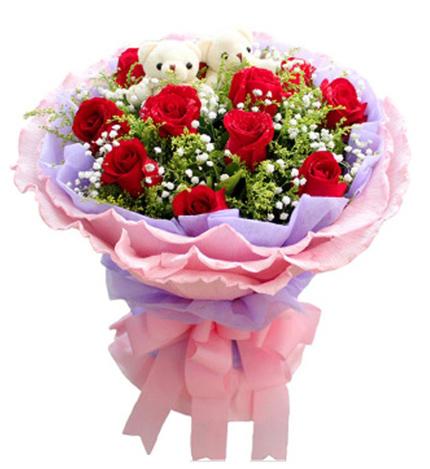 11朵红玫瑰+2只小熊/相伴今生