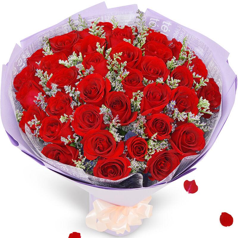 33枝昆明空运顶级红玫瑰/邂逅浪漫爱情
