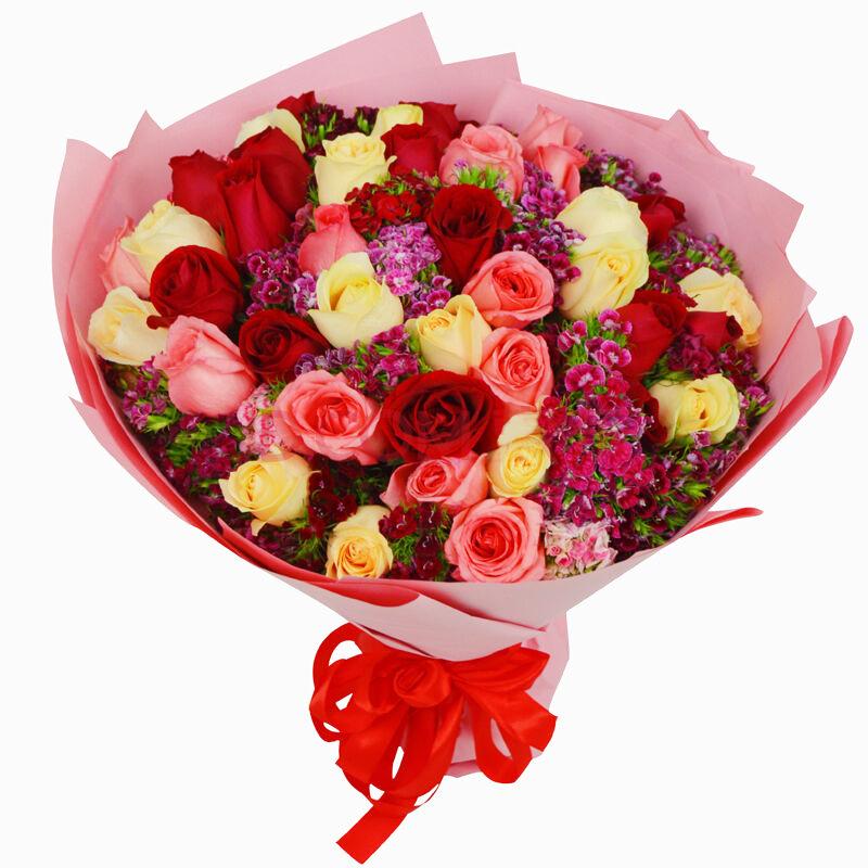11朵红玫瑰+11朵香槟玫瑰+11朵粉玫瑰/七彩星愿