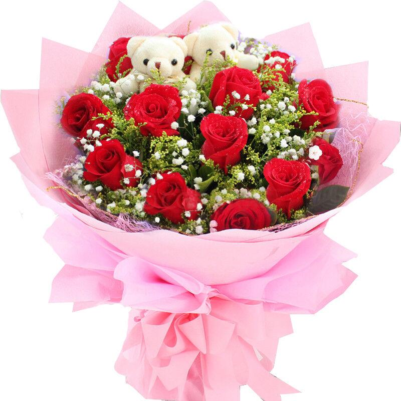 红玫瑰花束鲜花速递上海武汉北京深圳广州鲜花店送花生日毕业鲜花