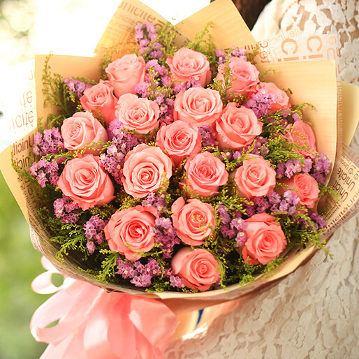 19朵精品戴安娜玫瑰/一心一意爱你
