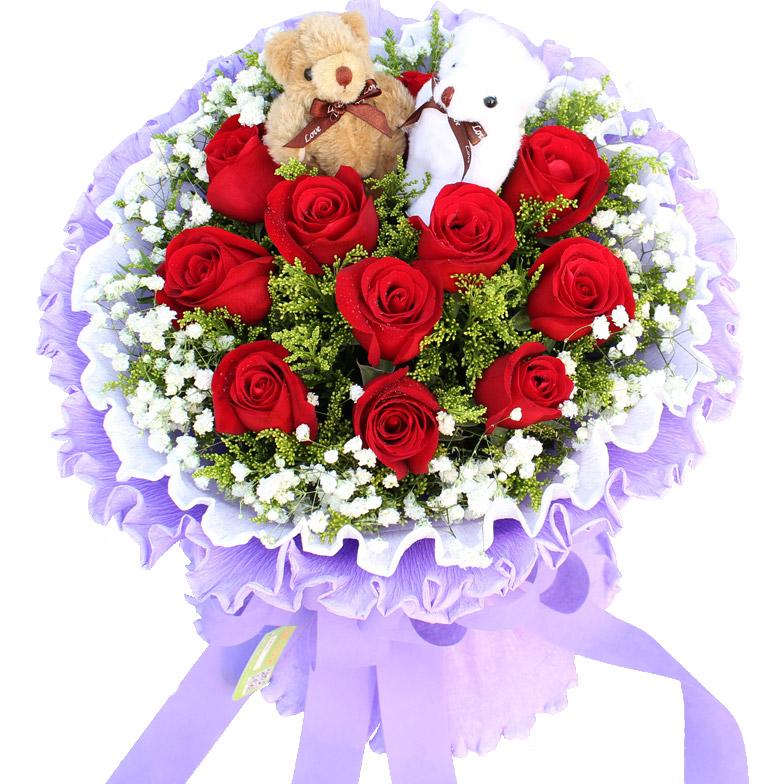 精心挑选11朵极品红玫瑰/思念是一种病