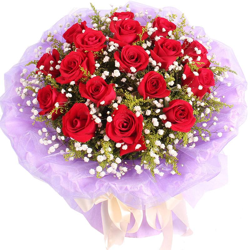 精选19枝顶级红玫瑰/说爱你