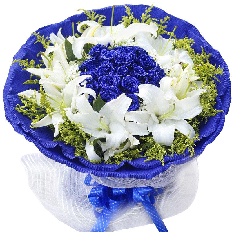 精选19枝顶级蓝玫瑰/因为遇见你