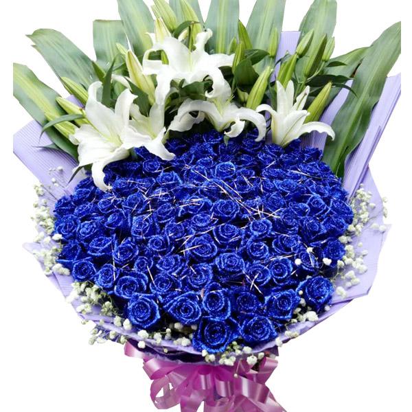 99朵优质蓝色妖姬+4枝多头白百合/浪漫约定
