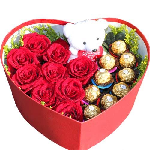 9枝红玫瑰+9颗巧克力/深深爱你
