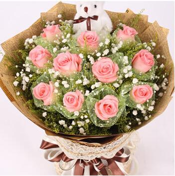 戴安娜玫瑰11枝,小熊1只/永永远远