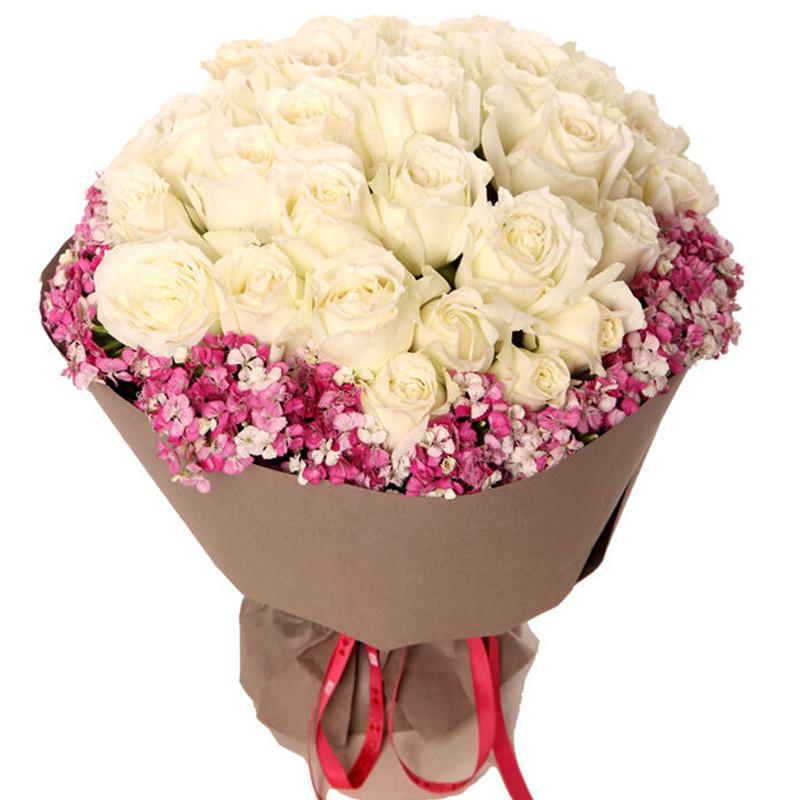 33枝精品白玫瑰/倾城月色