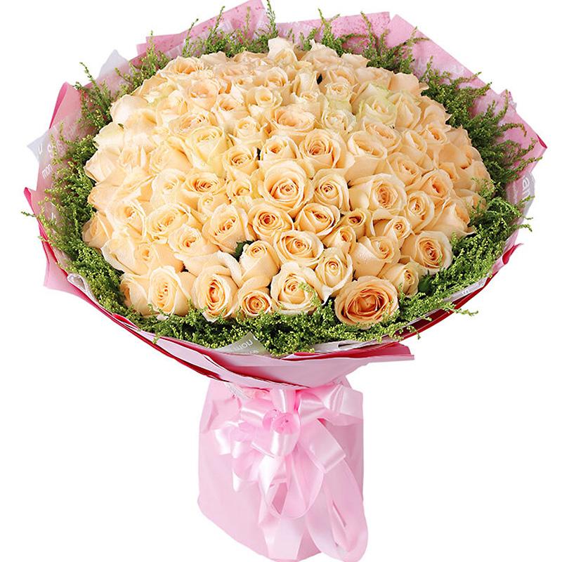 精选99朵顶级香槟玫瑰/幸福花语