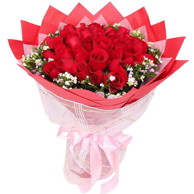 33朵精品红玫瑰/你的笑容