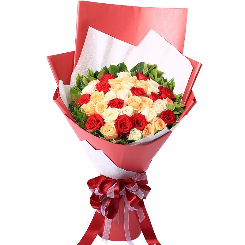 33朵混色玫瑰(红+白+香槟)/美丽邂逅