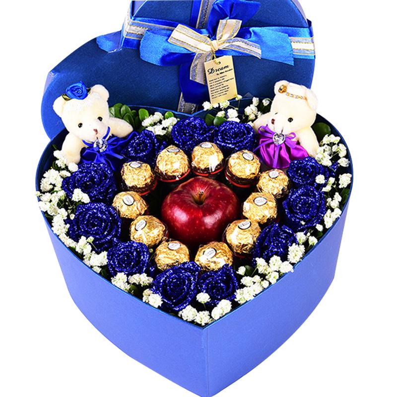11朵蓝色妖姬、11颗费列罗巧克力、1颗红苹果、2只可爱小熊/圣诞誓约