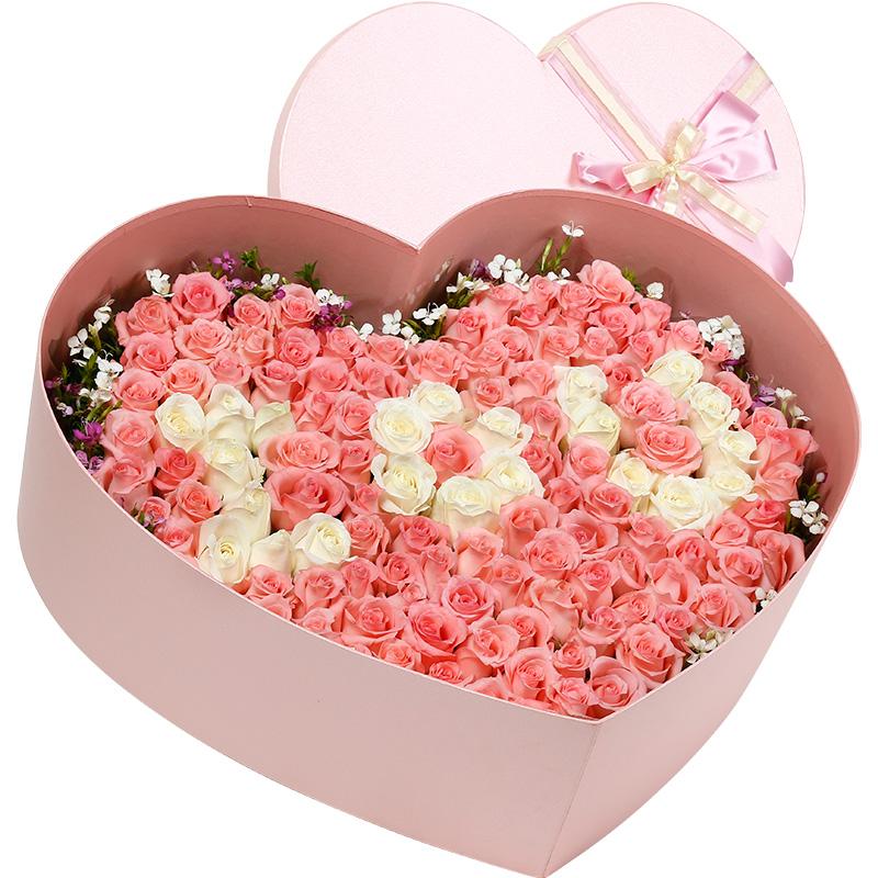 99支精品混色玫瑰(白玫瑰、戴安娜粉玫瑰)/曼妙时光
