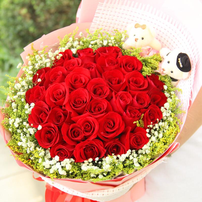 33朵优质红玫瑰/心的呵护