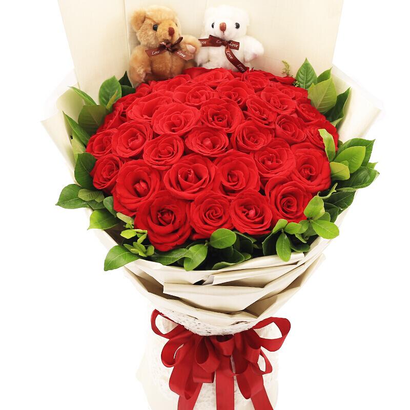 33朵优质红玫瑰/风中浪漫