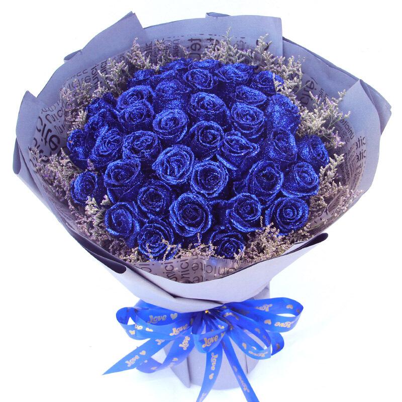精选33朵顶级蓝玫瑰/品尝幸福