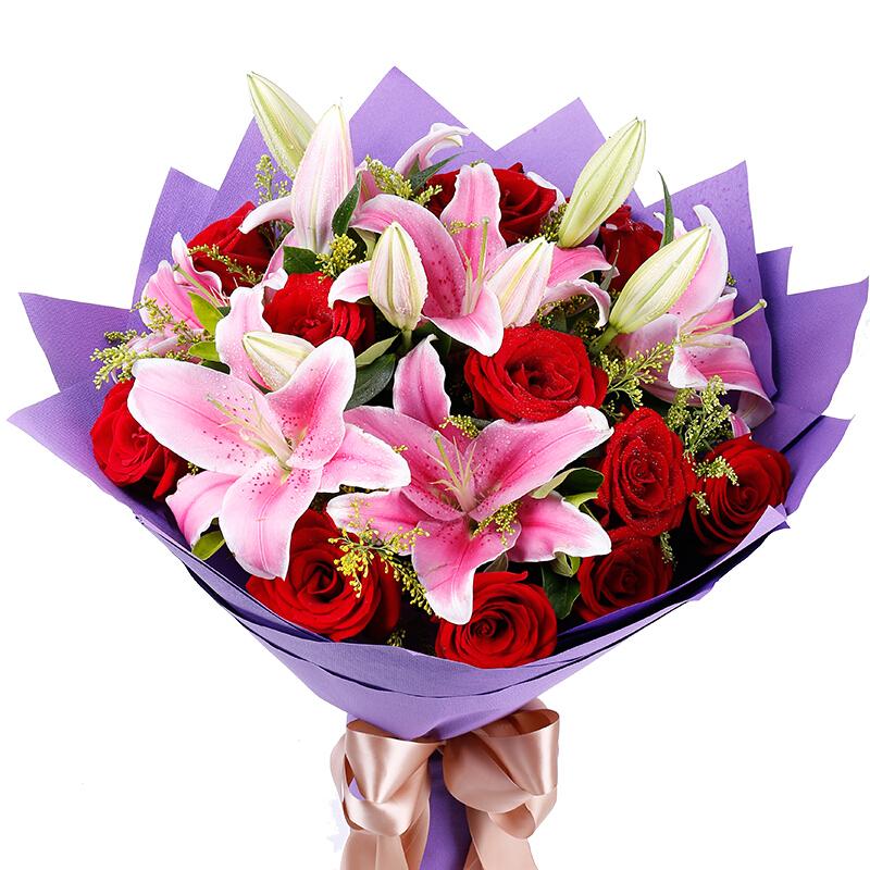 11枝红玫瑰搭配3枝多头粉百合/拥抱幸福