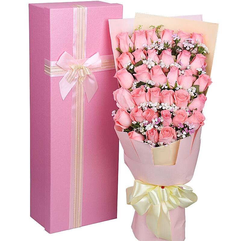 33朵戴安娜粉玫瑰/甜美如你