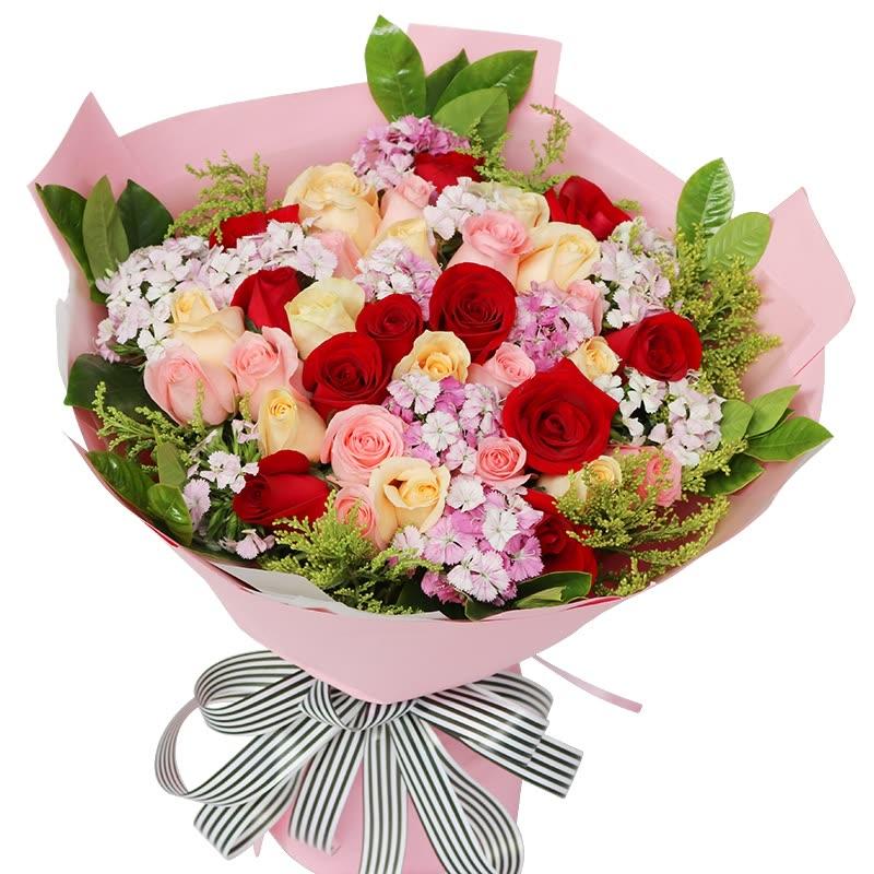 33朵红色、粉色、香槟玫瑰混搭/你的微笑