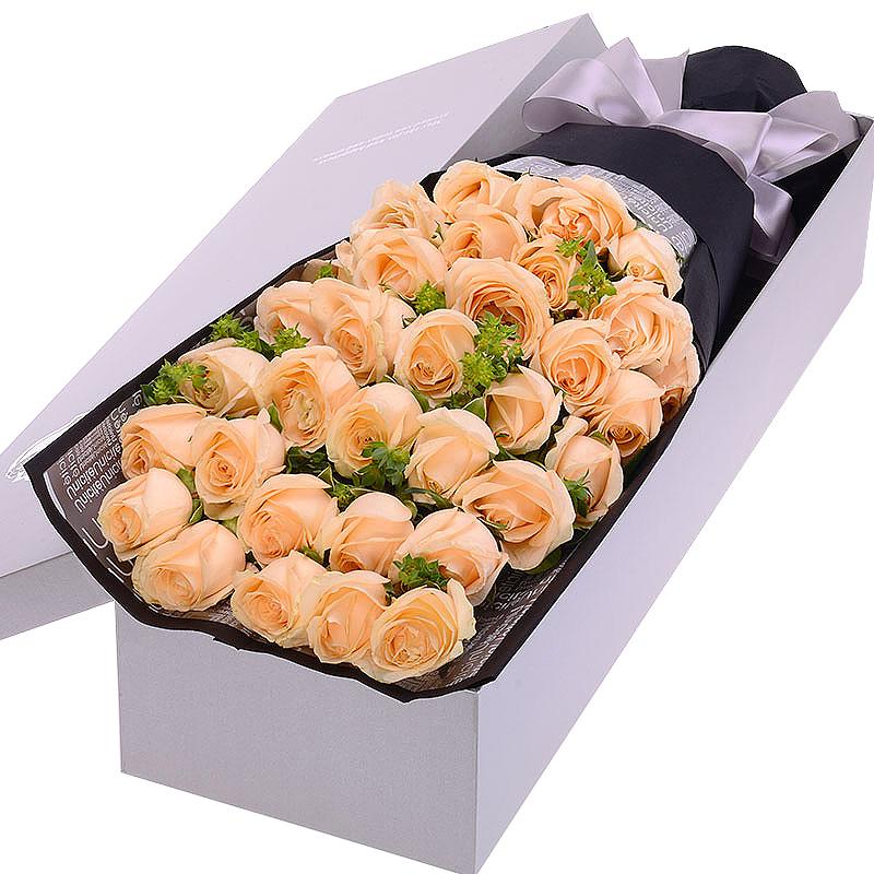 33枝香槟玫瑰/温柔的爱