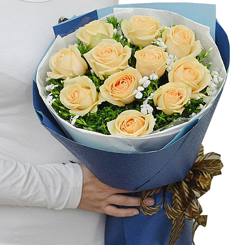 精选11朵香槟玫瑰/温暖的爱
