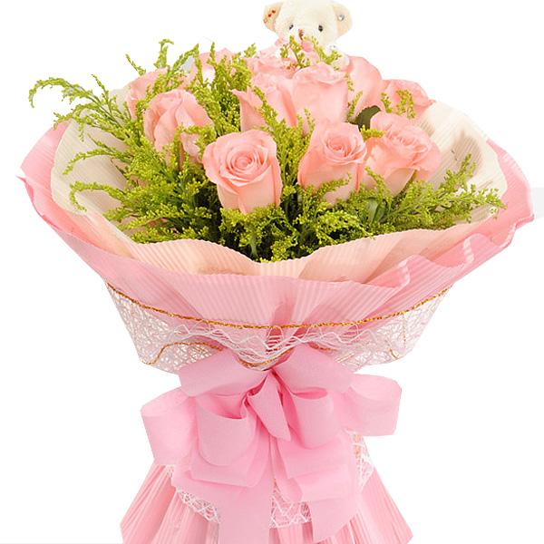 11枝戴安娜玫瑰搭配黄莺/暖暖爱