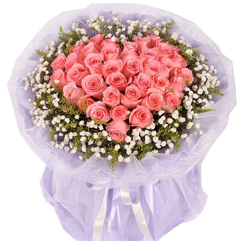 33朵戴安娜粉玫瑰/蜜糖恋人